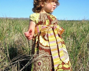 LOTUS LACEWORK - Peasant Dress with Tie -- Available in Sizes 6m 12m 18m 2T 3T 4T 5 6 7 8