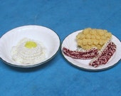 crocheted breakfast set scrambled eggs bacon grits play food