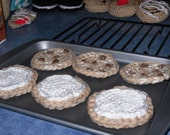 crochet play food cookies with cookie sheet and cooling rack