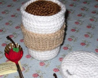 Crocheted coffee cup and wrapper PDF pattern for play pretend play food