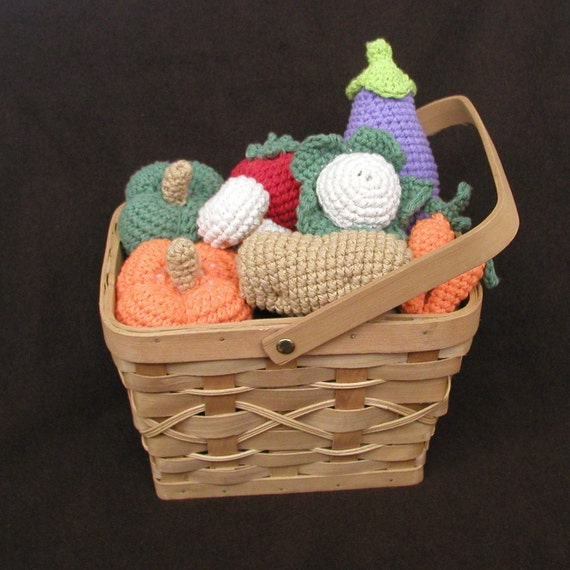 crocheted cotton vegetables play food for play pretend fun