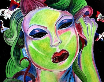 Zombie pin up A4 framed original artwork painting