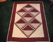 Quilt, handquilted lapquilt, Burgundy Lady of the Lake