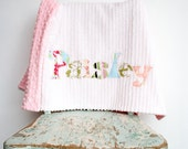 Monogrammed Baby Blanket, Pink Dot Minky and White Chenille, Personalized with Your Baby Girl's First Name in Shabby Chic Pinks and Greens