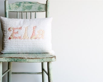 A Monogrammed Pillow in Shabby Chic ROSE, Personalized with Your Baby or Toddler Girl's First Name / As seen on PARENTING.COM