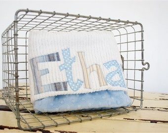 Monogrammed Baby Blanket in SANDSTONE, Baby Blue Minky and White Chenille, Personalized with Your Baby Boy's Name in Tan and Blue Fabric