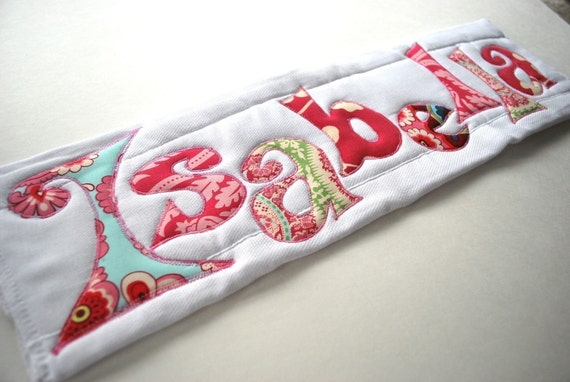 An Eclectic Custom Monogrammed Burp Cloth, Personalized with Your Baby Girl's Name