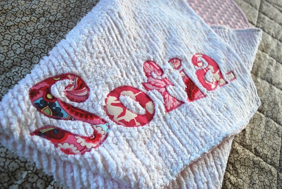 Light Pink Dot Minky and White Chenille Monogrammed Blanket, Personalized with Your Baby Girl's First Name