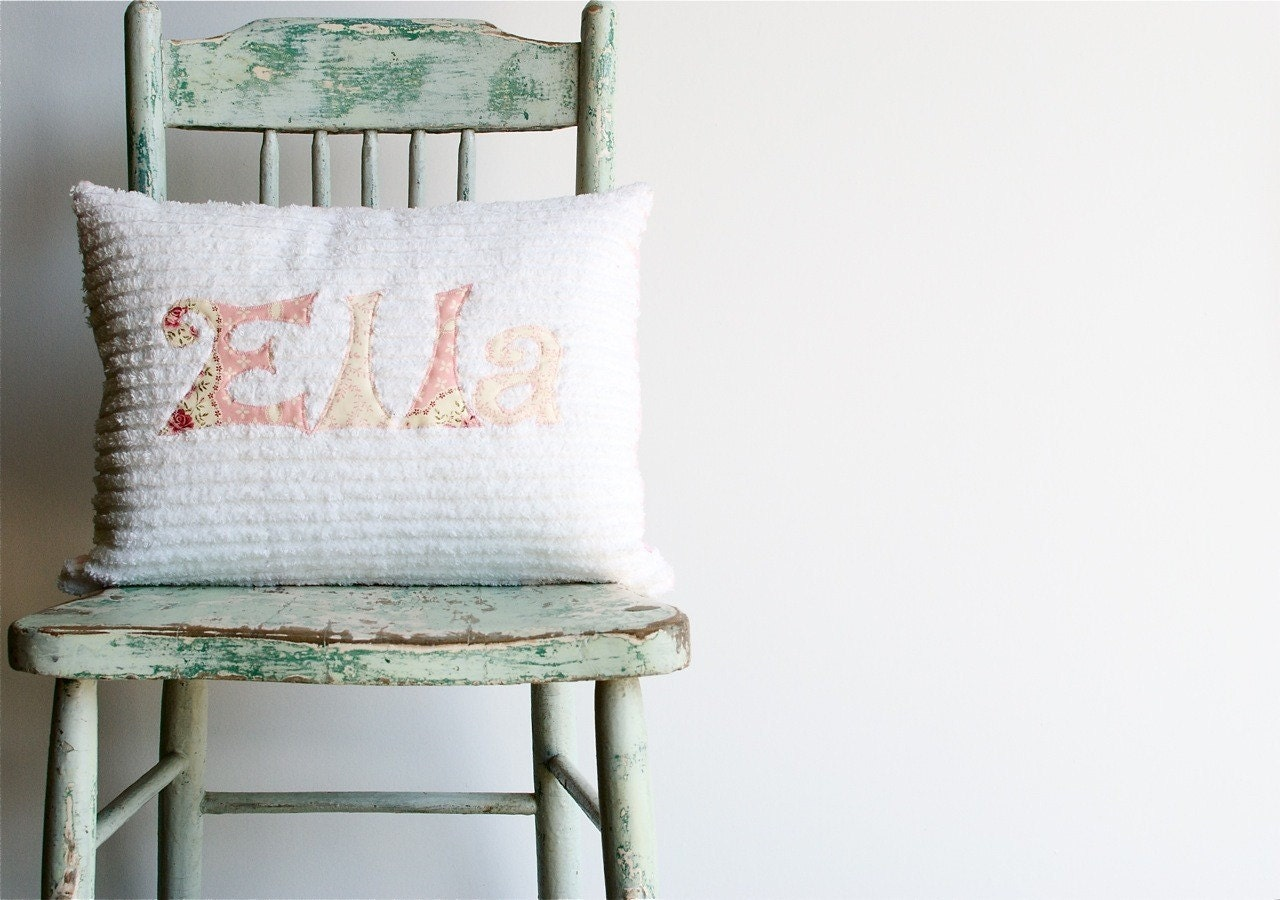 Shabby Chic Pillows On Etsy : A Monogrammed Pillow in Shabby Chic ROSE by mollyannemake on Etsy