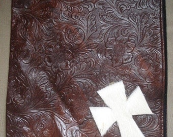 Western Faux Tooled Leather Bible Cover With Cross