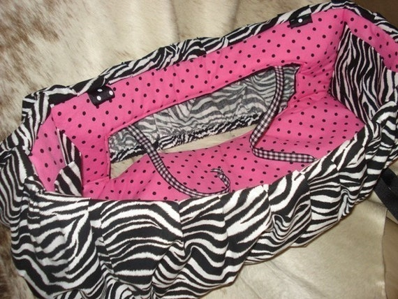 Shopping Cart Cover for Toddler or Baby in Black and White Zebra Hot Pink and Black Polka Dot