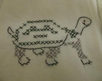 SALE Vintage Hand Embroideried Turtle Feedsack Tea Towel