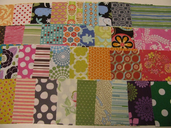 RESERVED for gwendolyn00 5 Inch Squares 25 Fabric Pieces Amy Butler, Sandi Henderson, Riley Blake, Alexander Henry, Heather Bailey