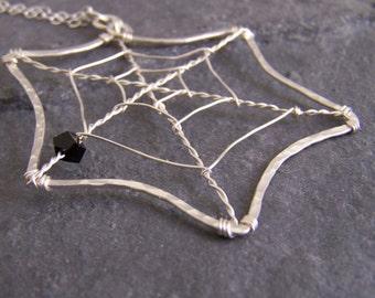 Handmade Hammered and Spun Spider Web Pendant