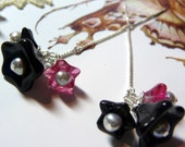 CLEARANCE -  Hot Pink and Cool Black - Posie Dangle Earrings