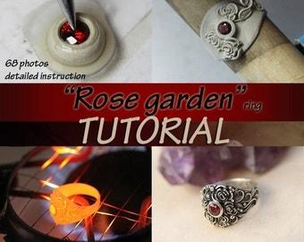 Rose garden TUTORIAL, metal clay, metal clay tutorial, ring tutorial, roses tutorial, silver jewelry, art clay tutorial, pmc, stone setting