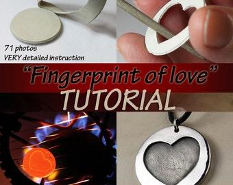 Fingerprint of love TUTORIAL for TOTAL BEGINNERS metal clay pendant