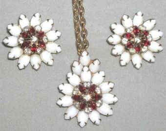 Vintage Milk Glass Necklace Earrings Set Rhinestone Parure