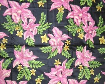 Vintage 1940s Orchid Print Glazed Cotton Floral Fabric Yardage Black & Pink