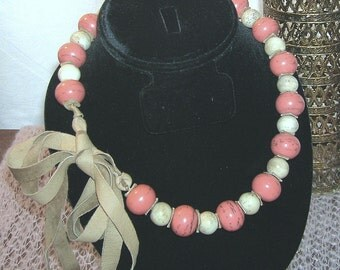 Antique Vintage Ethnic Tribal Carved Coral Trade Bead Necklace Pink & White