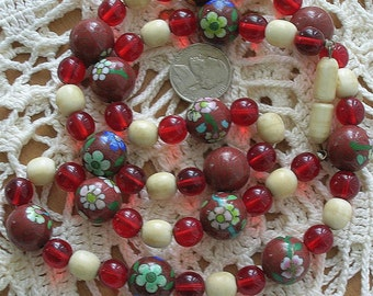 Vintage Estate Chinese Cloisonne Bone Ruby Glass Bead Necklace 15mm Beads