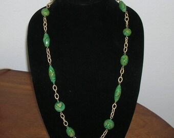 Vintage Art Deco Venetian Foil Art Glass Bead Necklace Confetti Opal