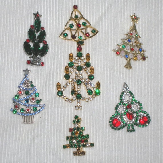 7 Vintage Czech Rhinestone Christmas Tree Brooch Pin Lot