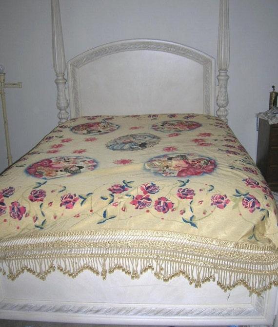 Vintage Art Deco Italian Figural Bedspread Pierrot Clown Lady Coverlet
