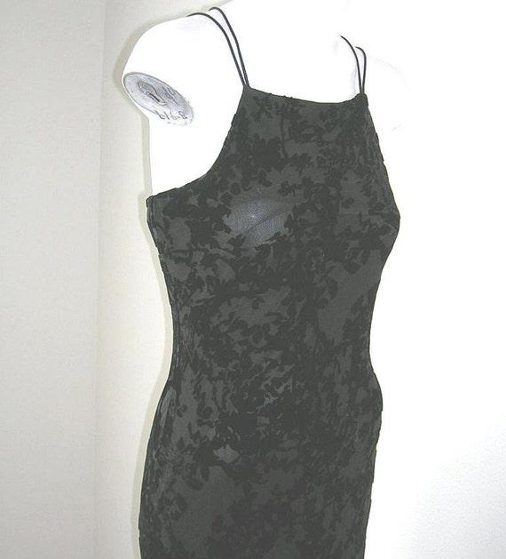 Vintage Silk Burnout Velvet Bias Cut Gown Prom Dress Black Sz 3