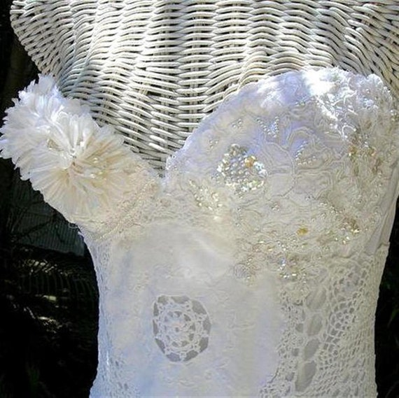 CUSTOM Vintage Lace Strapless Bridal Bustier Corset One of a Kind Lace Wedding Bustier