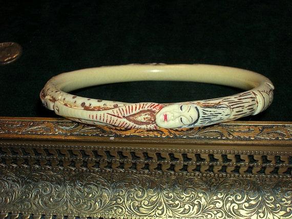 Vintage Hand Painted Carved Bone Bangle Bracelet Figural Woman Extra Large
