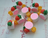 SALE 3D Miniature Clay Roll Cake 6pcs ( Strawberry and Orange )