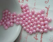 Pearly AB color Shiny beads 6mm 80pcs PINK