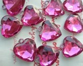 SALE Clear HOT PINK faceted Heart gem charms 10pcs Size-M