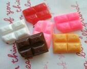 sale Chunky Chocolate bar cabochon Set D  6 colors 6pcs