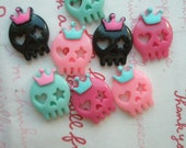 SALE Small Skull with bow cabochons Set 8pcs (Crown )