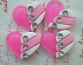 A Dollar SALE Glitter Pink Heart cabochon with rhinestons 4pcs MJ