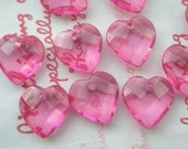 sale P-D Chunky Faceted Heart Gem Charms Clear HOT Pink 10pcs Size-S
