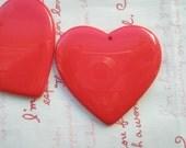 Large Plain Heart pendant 2pcs RED 53MM X 52MM