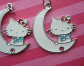 SALE Alloy Kitty with White Moon Charm Connector 2pcs