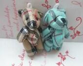 TARTAN Plaid Teddy Bear dolls SET 2pcs Blue Brown