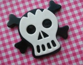 Huuuuuuge Skull cabochon Black and white RARE 1pc
