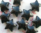 Chunky Puffy Star beads 10pcs Black
