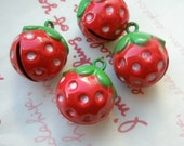 Cute Round STRAWBERRY Bell charms 4pcs