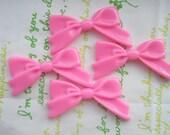 SALE Plain Tied bow cabochons 4pcs Bubblegum Pink