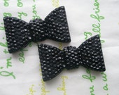 SALE Bumpy  bow cabochons Set 2pcs BLACK