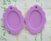 SALE Glossy Lacey cameo setting frame 2pcs Lavender Fits 25mm x 15mm cameo