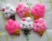 sale Cute ice ream cones  cabochons Set 6pcs