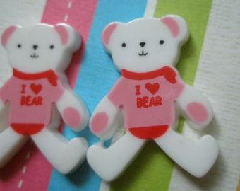 I love bear Teddy bear cabochons 2pcs