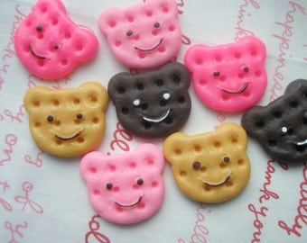 SALE Teddy Bear shaped Cookie Biscuit cabochons Set 8pcs B